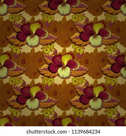 Vintage abstract vector floral seamless pattern in brown, yellow and red colors. Intersecting curved elegant stylized leaves and scrolls forming abstract floral ornament in Arabic style. Arabesque.