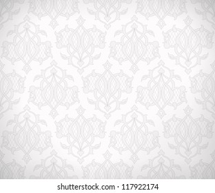 Vintage abstract vector seamless pattern in subtle shades of white and gray colors for wallpaper background design. EPS 10 illustration