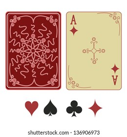 Vintage ace of diamonds playing card with pattern back