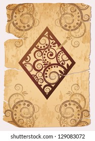 Vintage Diamond�´s ace poker playing cards, vector illustration