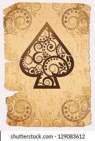 Vintage Spade�´s ace poker playing cards, vector illustration