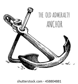 Vintage admiralty anchor. Hand drawn sketch.