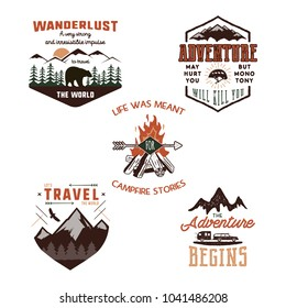 Vintage adventure tee shirts designs, summer logo set. Hand drawn travel labels. Mountain explorer, wanderlust, expedition emblems. Isolated on white background. Vector illustration.