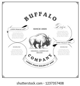 Vintage Advertising Template with Ornate Buffalo Logo.