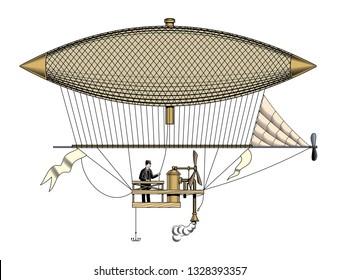 Vintage aerostat or zeppelin, vector illustration.