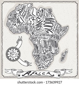 Vintage Africa Map Blackboard. Geographic African Chalk Board Map. Retro Vintage typography Africa. Chalk Handwriting African Map.Vintage Board Background Infographic Vector Image