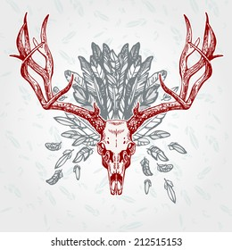 Vintage aged deer skull on a plumage background. Vector illustration, EPS 10. Contains transparent objects