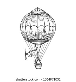 Vintage air balloon sketch engraving vector illustration. Scratch board style imitation. Hand drawn image.