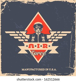 vintage air force label with pilot (T-Shirt Print)