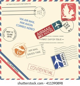 Vintage air mail envelope with stamps, marks and postal elements. Cool vector illustrator. Retro or vintage mail.