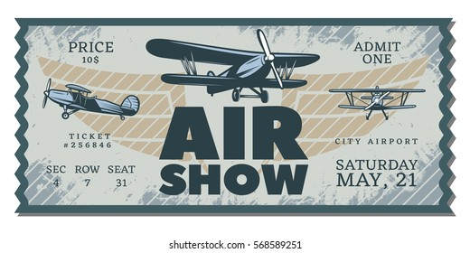Vintage air show pass ticket with flying airplanes in grunge style vector illustration