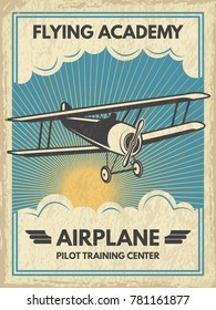 Vintage aircaft poster. Vector illustration. Retro banner with airplane fly