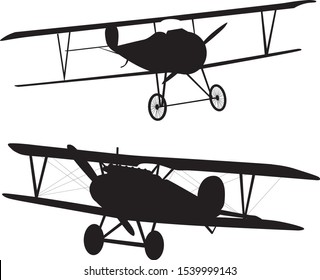 Vintage aircrafts silhouettes collection. Vector EPS 10