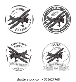 Vintage airplane emblems. Biplane labels. Retro  badges,  design elements. Aviation stamps collection Aerial logo and logotype. Fly stamps isolate, pilot academy symbols Vector Jet elements.