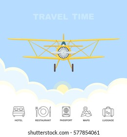Vintage airplane flying through clouds in the sky. Yellow biplane. Air travel. Hotel, restaurant, passport, maps, luggage icons isolated on white background. Vector illustration. Flat cartoon design.