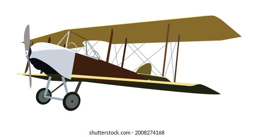 Vintage airplane, isolated with big wings