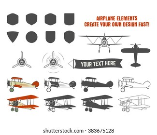 Vintage airplane symbols. Biplane vector graphic labels. Retro Plane badges, design elements. Aviation stamps collection. Fly propeller, old icon, shield isolated on white background.