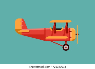 vintage airplane vector illustration in flat style
