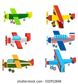 Vintage airplanes cartoon models. Retro motor aircraft with propeller icon. Colorful monoplane and biplane planes vector illustrations isolated on white background.