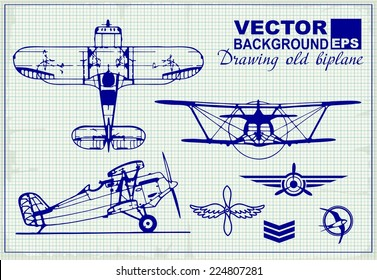 Vintage airplanes drawing on graph paper and design elements , badges and logo patches on the theme aviation