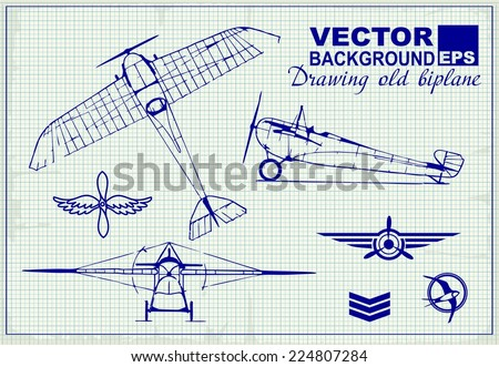 vintage airplanes drawing on graph paper stock vector royalty free