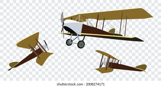 Vintage airplanes, isolated with big wings