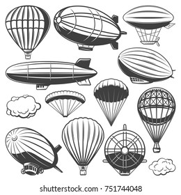 Vintage airship collection with clouds hot air balloons and blimps of different types isolated vector illustration