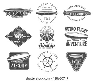 Vintage airship logo designs set. Retro Dirigible badges collection. Airplane Label vector design. Old sketching style. Use as fly logos, labels, stamps, patches for web design or tee design, t-shirt.