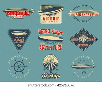 Vintage airship logo designs set. Retro Dirigible badges collection. Airplane Label vector design. Old sketching style. Use as fly logos, labels, stamps, patches for web design, tee design, t-shirt.