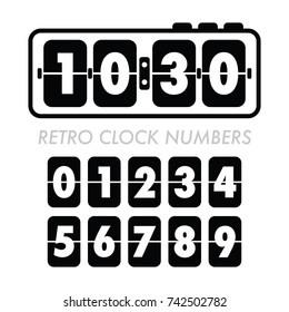 A vintage alarm clock with a full set of retro flip numbers in vector format.