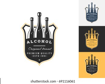 Vintage alcohol logo design template. Vector logotype elements, Icons, Symbols, Retro Labels, Badges and Silhouettes. Vector illustration