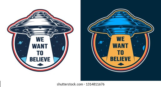 Vintage alien invasion colorful emblem with flying ufo isolated vector illustration