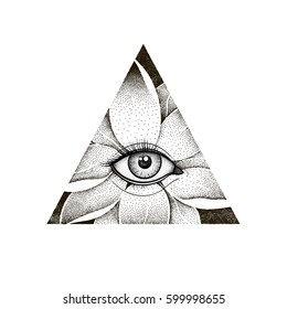 Vintage All Seeing Eye in Lotus Flower. Providence magic symbol for print, tattoo, coloring book, fabric, t-shirt, cloth in watercolor style. Astrology, occult, esoteric insight sign with eye. Vector.