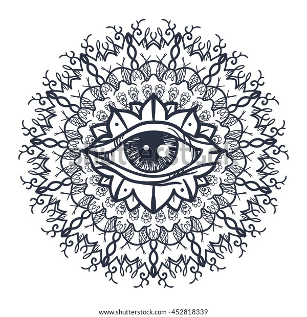 Vintage All Seeing Eye Mandala Providence Stock Vector Royalty Free 452818339