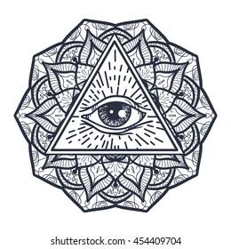 Vintage All Seeing Eye Triangle Mandala Stock Vector Royalty Free