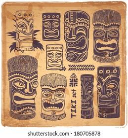 Vintage Aloha Tiki icons set for your business