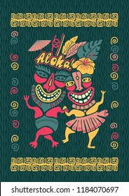 Vintage Aloha Tiki illustration, Tropical Tiki party, Hawaii party time, Tiki bar, Aloha hawaii floral t-shirt print