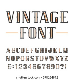 Vintage alphabet font. Type letters and numbers on a white background. Vector typeface for labels, headlines, posters etc.