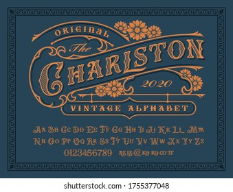 A Vintage alphabet with upper and lower case, numbers, and special ligatures as well. It is perfect for logo and packaging and label designs, short phrases, or headlines.