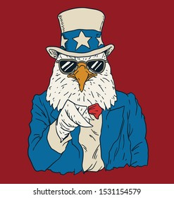 Vintage American bald eagle dressed as Uncle Sam.