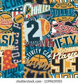 Vintage American college sport graphic patchwork,  abstract vector wallpaper seamless pattern