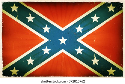 Vintage American Confederate Flag Poster Background/ Illustration of american confederate flag poster, with blue cross and stars on red background, retro design, grunge textures for national holidays