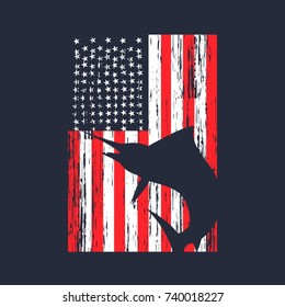 Vintage American Flag With Marlin Fish Silhouette Design Vector