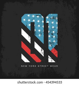Vintage American flag old grunge effect tee print vector design. Premium quality superior sport number retro logo concept. New York street wear t-shirt emblem.
