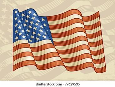 Vintage American Flag. Vector