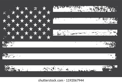 Vintage American flag.Grunge black and white USA flag.EPS 10.