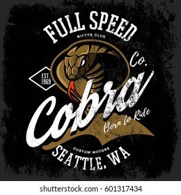 Vintage American furious cobra bikers club tee print vector design isolated on dark background. Seattle street wear t-shirt emblem. Premium quality wild snake superior logo concept illustration.