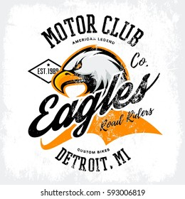 Vintage American furious eagle custom bike motor club tee print vector design. Michigan, Detroit street wear t-shirt emblem. Premium quality wild bird superior logo concept illustration.