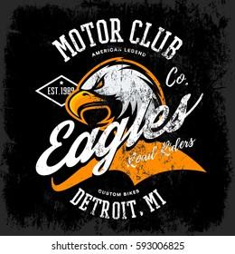 Vintage American furious eagle custom bike motor club tee print vector design. Michigan, Detroit street wear t-shirt emblem. Premium quality wild bird superior logo concept illustration.