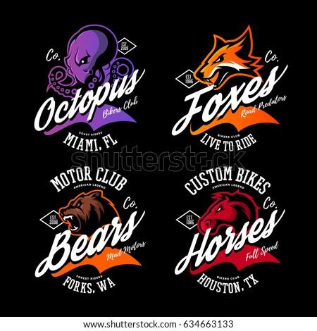 6a2399e50c2495 Vintage American Furious Octopus Fox Bear Stock Vector (Royalty Free ...